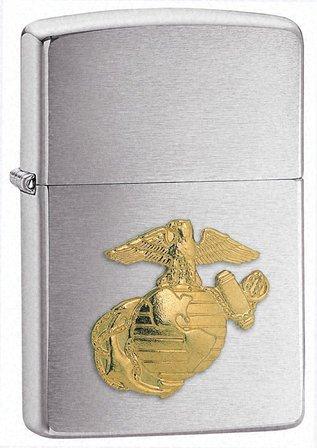 Marines Emblem Brushed Chrome Zippo Lighter - Free Engraving - ID# 280MAR