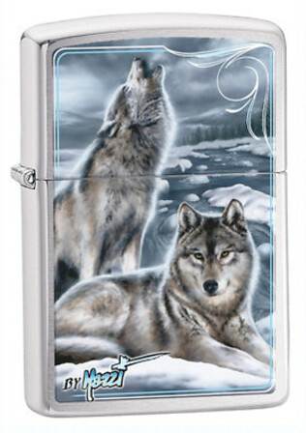 Mazzi Winter Wolves Brushed Chrome Zippo Lighter - ID# 28002