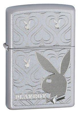 Playboy Bunny Hearts Satin Chrome Zippo Lighter - ID# 28077