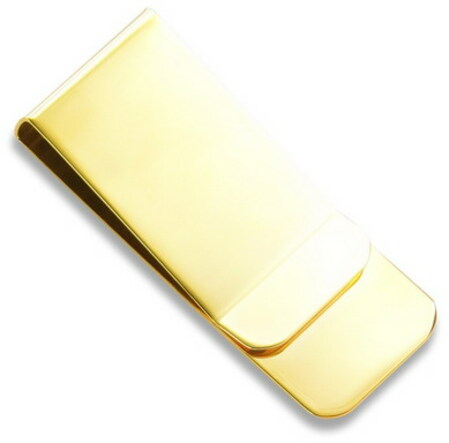 Gold Plated Engraved French Fold Money Clip