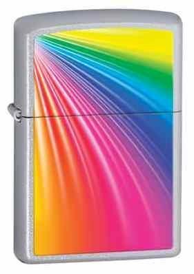 Rainbow Satin Chrome Zippo Lighter - ID# Z277