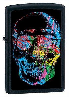 Rainbow Skull Black Matte Zippo Lighter - ID# 28042