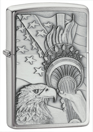 Something Patriotic Emblem Brushed Chrome Zippo Lighter - ID# 20895