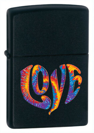 Tie Die Love Black Matte Zippo Lighter - ID# 28045