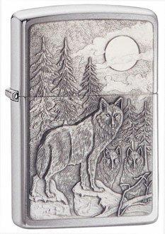 Timberwolves Emblem Brushed Chrome Zippo Lighter - ID# 20855