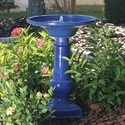 Athena Solar On Demand Birdbath with Ceramic Glazed Blue Finish