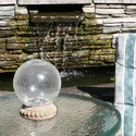 Crackled Glass Solar Chameleon Gazing Ball with Table Top Base