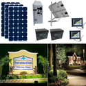 Earthtech Products Solar Sign & Landscape Light Kit - 2 Lights (2250 Lumens each), 3 - 100W Solar Panels, (2) 140 Ah Batteries