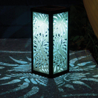 Frosted Glass Solar Table Light - Palm Leaf Design