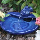 Spouting Small Koi Solar Fountain with Ceramic Glazed Blue Finish