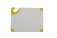 Saf-T-Grip White Cutting Board - Yellow Grips