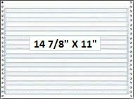 "14 7/8"" x 11"" - 18# 1-Ply Continuous Computer Paper (3,000 sheets/carton) No Vert. Perf - 1/2"" Blue Bar"