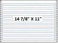 """14 7/8"""" x 11"""" - 18# 1-Ply Continuous Computer Paper (3,000 sheets/carton) No Vert. Perf - 1/2"""" Blue Bar Hi-Lite"""