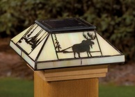 "Northwoods Filigreed Glass Post Cap Light for 4x4 Posts (Inside Dimensions measure 3-5/8"" x 3-5/8"") - Cedar Skirt"