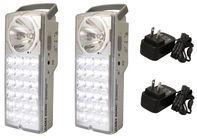 Rechargeable 24-LED Emergency Lantern And High-Beam Flashlight - Set of 2