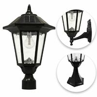 Gama Sonic Windsor Bulb Solar Light - With Pole, Post & Wall Mount Kit - Black