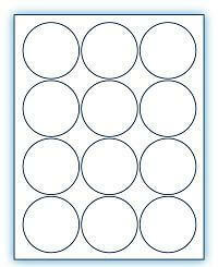 "2.5"" Circle  Laser/Inkjet Labels; 12 up; (250 sheets/box) - Standard White Matte"