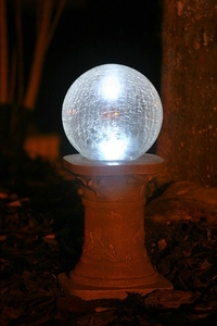 Solar Chameleon Crackled Glass Gazing Ball with Pedestal