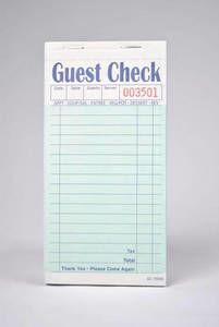 2-Part Green Carbonless Guest Checks (2,500 checks/case) - G7000