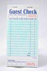 Single-Copy Cardboard Guest Checks (2,500 checks/case) - G3632