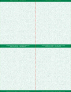 "8 1/2"" x 11"" - 4 up Laser Rx Paper (500 sheets/package) Horizontal & Vertical Perf - Green"