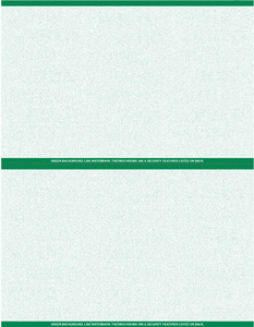 """8 1/2"""" x 11"""" - 2 up Laser Rx Paper (500 sheets/package) Horizontal Perf - Green"""