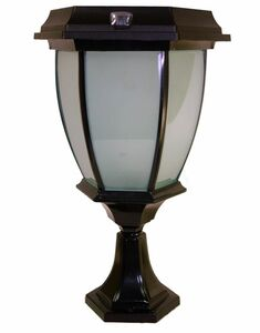 Concave Solar Coach Lamp with Flicker Flame LED - Pier Mount