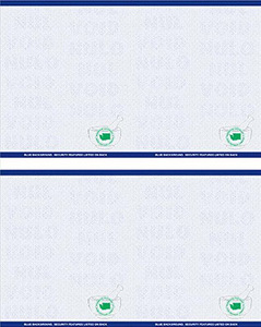 "8 1/2"" x 11"" - 4 up Laser Rx Paper, Horizontal & Vertical Perf with WA specs (500 sheets/package) - Blue"