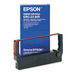 OEM Epson ERC 23 Printer Ribbons (1 per box) - Black/Red