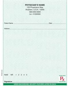 """Standard - Secure 4 1/4"""" x 5 1/2"""" Vertical 1-part Rx Pads (4 Pads @ 100 sheets/pad) - Green"""