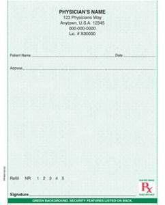 "Standard - Secure 4 1/4"" x 5 1/2"" Vertical 2-part Rx Books (9 Books @ 50 sets/book) - Green"