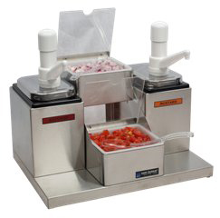 Self-Service Condiment Center - (2) Ultra Pumps, (2) 2 1/2 Qt Jars & (2) 1 Qt Inserts w/Notched Lids & Spoons