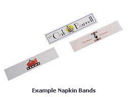 "3-Color Custom Printed Paper Napkin Bands (for 4 1/4"" x 1 1/2"" Paper Napkins) - 20,000 bands/case"