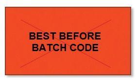 "Garvey GX2516 Pricing Labels (1 Case = 20 sleeves @ 8,000 labels/sleeve = 160,000 labels) - Red/Black - ""Best Before/Batch Code"""