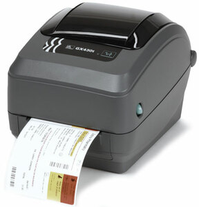 Zebra GX430 Desktop Label Printer with 10/100 Ethernet, Cutter, Adjustable Black Line Sensor, Extended Memory, Real Time Clock