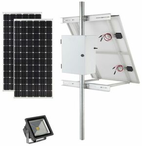 Earthtech Products Solar Sign & Landscape Light Kit - 1 Light (6000 Lumens), (2) - 300W Solar Panel, (2) 115 Ah Batteries - 14 Hour Run Time