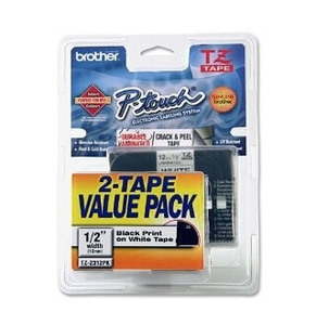 "Brother TZ Label Tape Cartridge - 0.5"" x 26.2' - Black on White - 2/Pack for TZ Models"