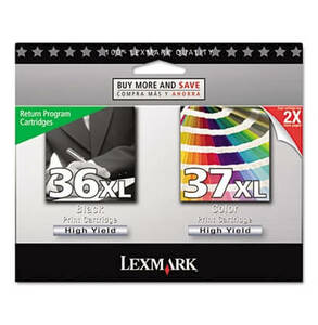 Lexmark 18C2249 (36XL 37XL) High-Yield Ink 500 Page-Yield 2/Pack - Black