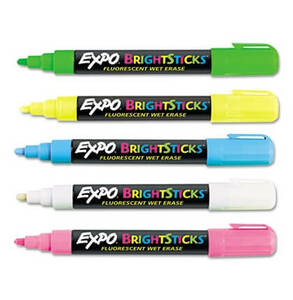 Sanford Bright Sticks Wet-Erase Fluorescent Marker Set Bullet Tip Assorted