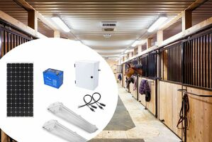 Earthtech Products Barn and Outbuilding Lighting Kit 2 -  2 Lights (6200 Lumens), 150W Solar Panel, 84 Ah Battery