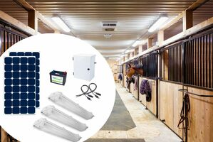 Earthtech Products Barn and Outbuilding Lighting Kit 3 -  3 Lights (9300 Lumens), (2) 100W Solar Panel, 100 Ah Battery