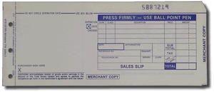 """3-Part LONG (3 1/4"""" x 7 7/8"""") Sales Imprinter Slips (100 slips/pack) - Truncated"""