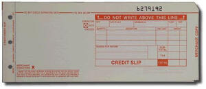 "2-Part LONG (3 1/4"" x 7 7/8"") Credit Imprinter Slips (100 slips/pack) - Red"