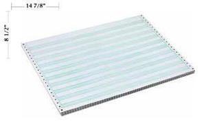 "14 7/8"" x 8 1/2"" - 18# 1-Ply Continuous Computer Paper (3,000 sheets/carton) No Vert. Perf - 1/2"" Green Bar"