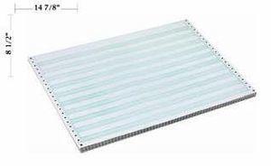"""14 7/8"""" x 8 1/2"""" - 15# 2-Part Continuous Computer Paper (1,800 sheets/carton) No Vert. Perf, Carbon Interleaf - 1/2"""" Green Bar"""