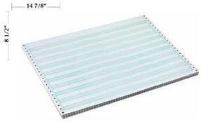 "14 7/8"" x 8 1/2"" - 15# 2-Part Premium Carbonless Computer Paper (1,500 sheets/carton) No Vert. Perf - 1/2"" Green Bar"
