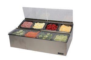 EZ-Chill Food Prep Center - (8) 1/6 Pans, (4) Flex Lids, (2) Ice Liner