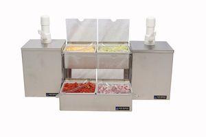 Pump & Condiment Tray Center - (2) Ultra Pumps & Boxes, (4) 1 Qt Inserts w/Spoons
