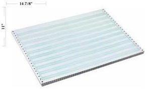 """14 7/8"""" x 11"""" - 15# 2-Part Continuous Computer Paper (1,500 sheets/carton) No Vert. Perf, Carbon Interleaf - 1/2"""" Green Bar"""