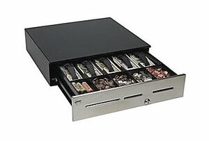 "MMF Advantage Cash Drawer (3 Slots, Stainless Front, 18"" x 16.7"", US Tray, Printer Driven Interface, Standard Security Keyed Random and No Bell) - Color: Black"